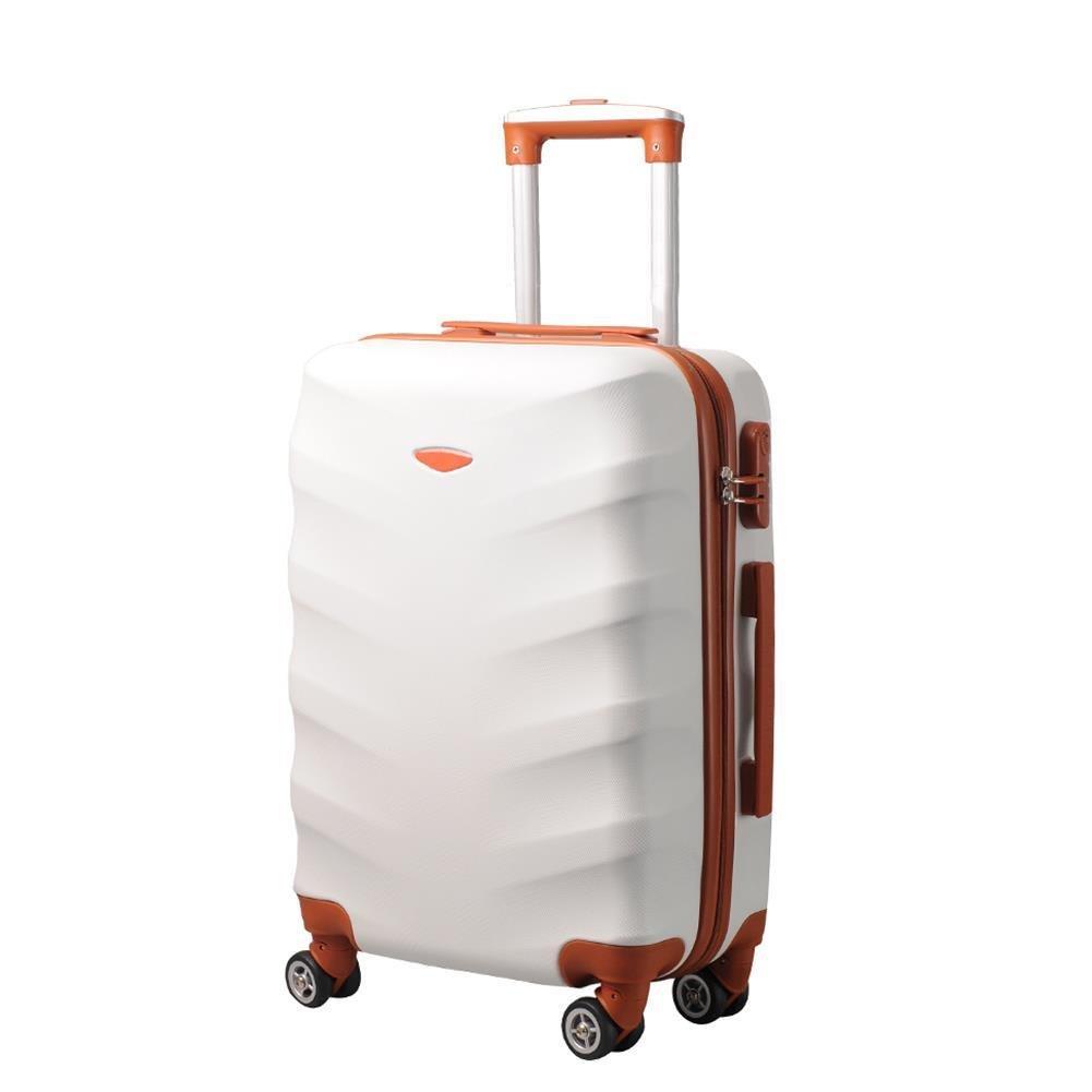 9a2c95b96dc0c Mała kabinowa walizka KEMER EXCLUSIVE 6881 SS Biało brązowa, BAGAŻ ...